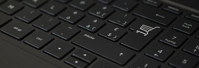 klávesnice s nákupním košíkem